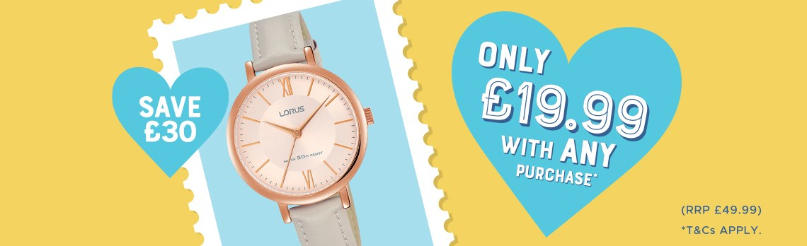 F.Hinds Jewellers: get Lorus Watch for £19.99 when you purchase any other item