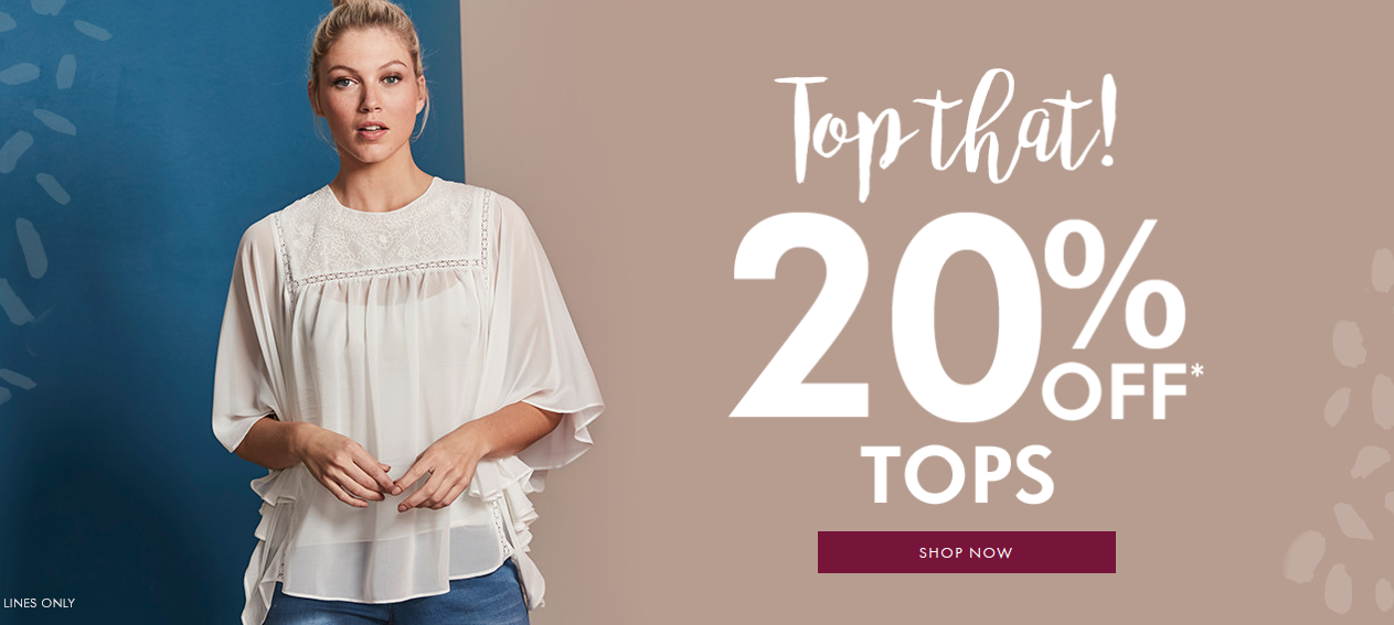 Fashion World: 20% off tops