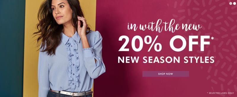 Fashion World: 20% off new season styles