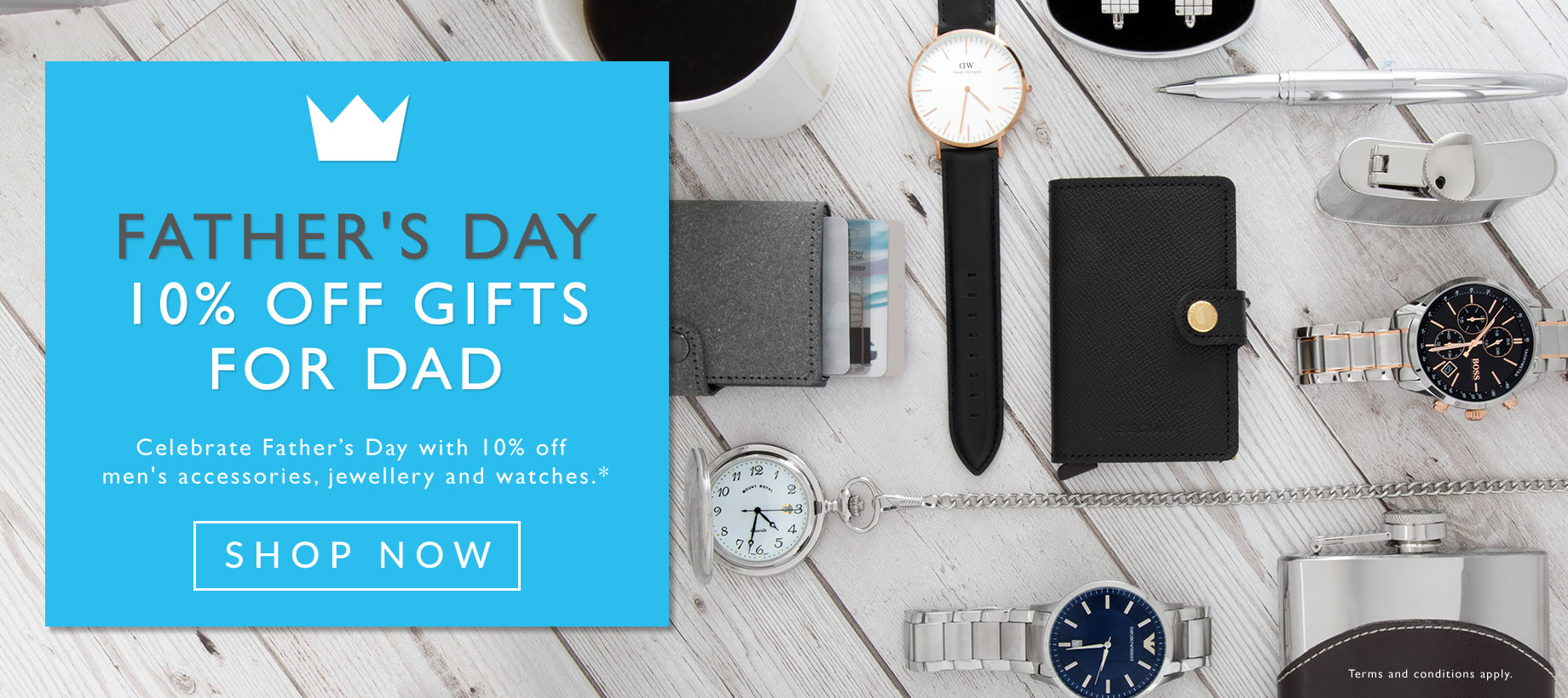 Fields: 10% off men's accessories, jewellery and watches