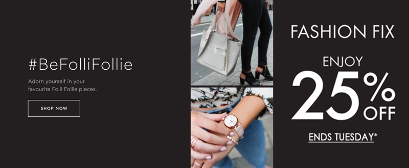 Folli Follie: 25% off jewellery, watches, bags and accessories