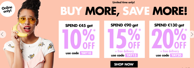 Forever 21: 10%, 15%, 20%  off women's and men's latest trends