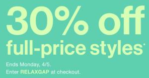 Gap: 30% off full-price styles
