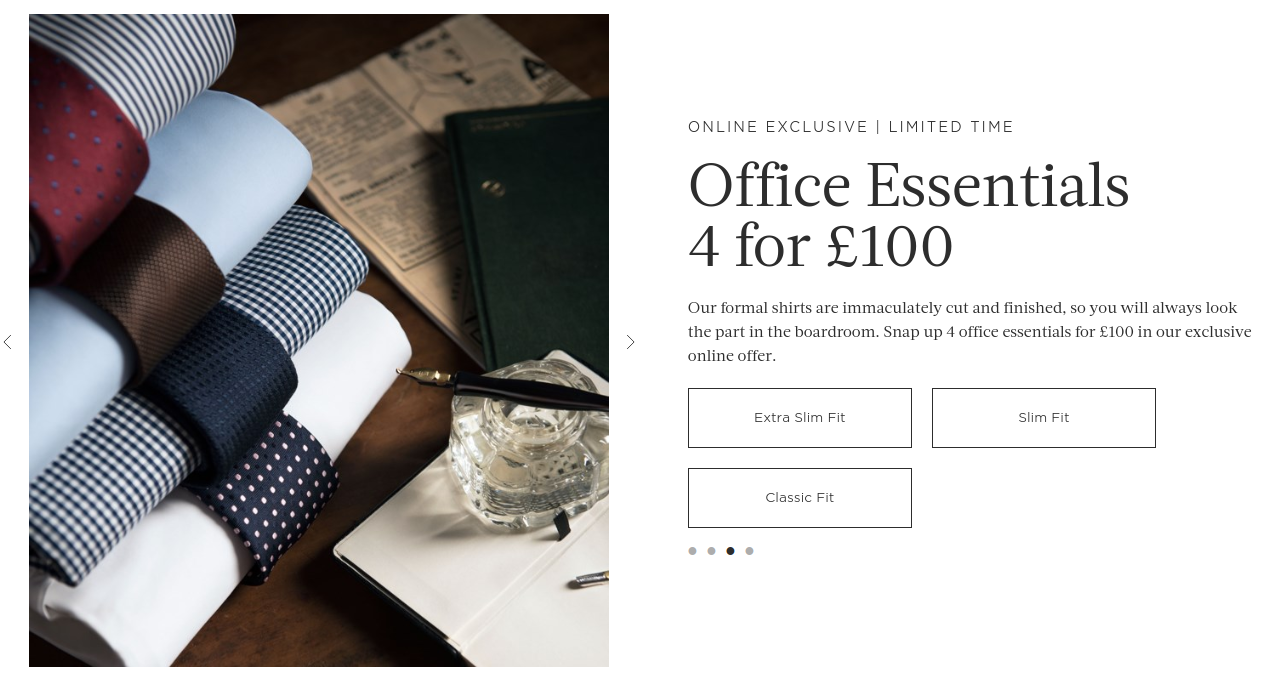 Hawes & Curtis: office essentials 4 for £100