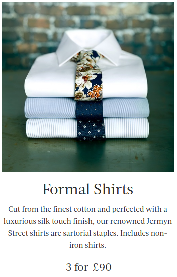 Hawes & Curtis: three formal shirts for £90