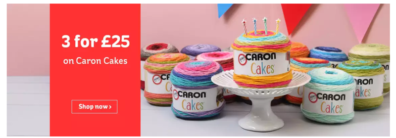 Hobbycraft: 3 for £25 on caron cakes