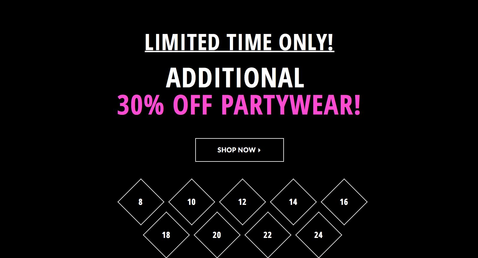 Just Last Season: 30% off partywear
