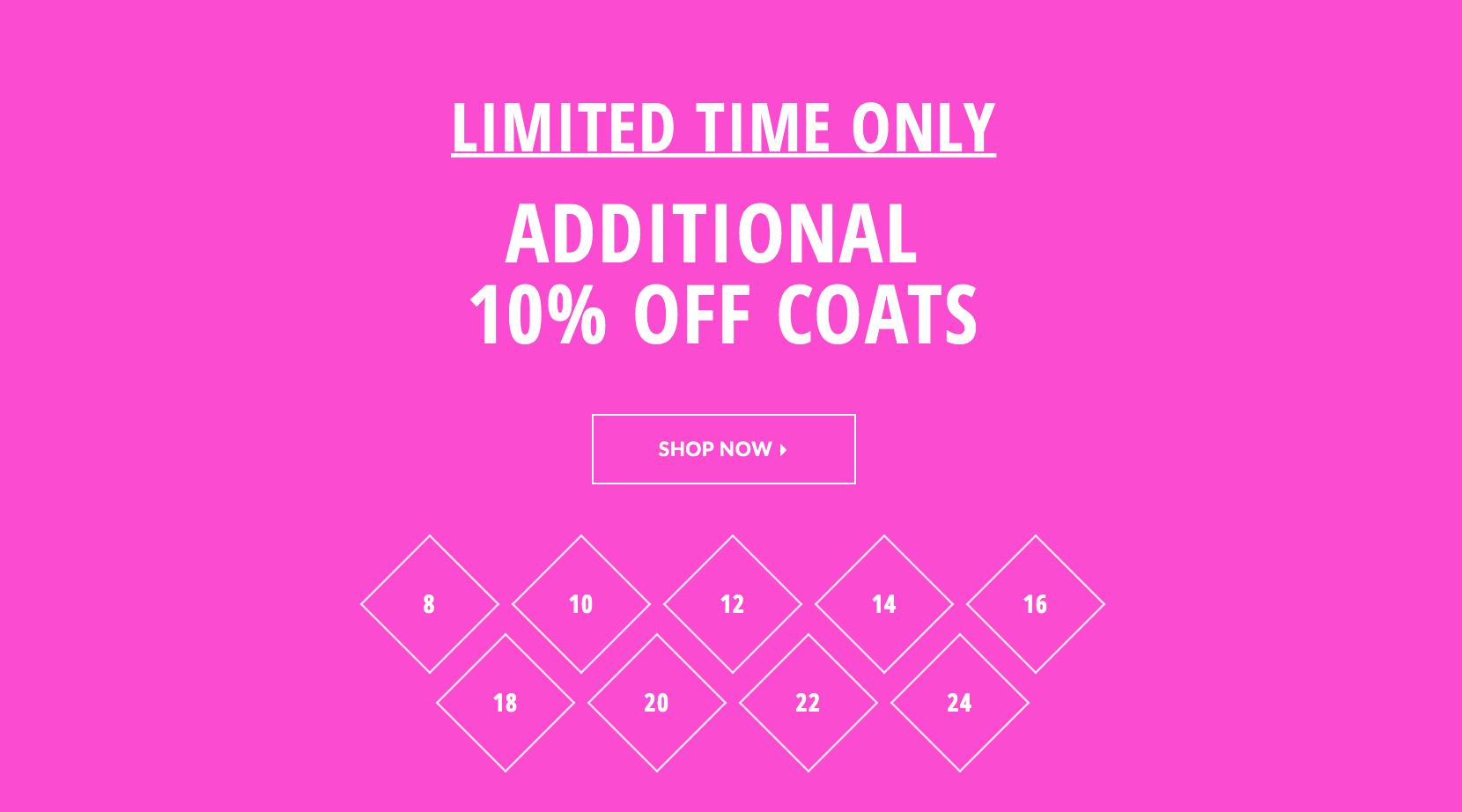 Just Last Season: additional 10% off coats
