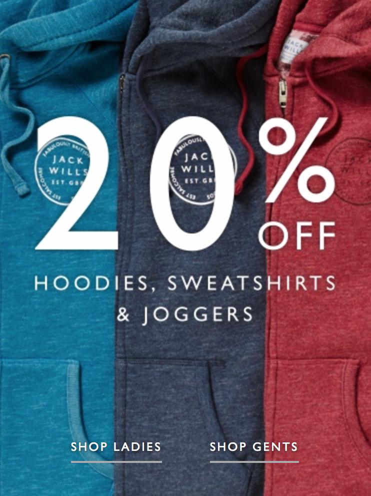 Jack Wills: 20% off hoodies, sweatshirts & joggers