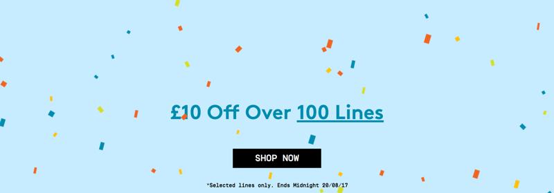 Jacamo: £10 over 100 lines