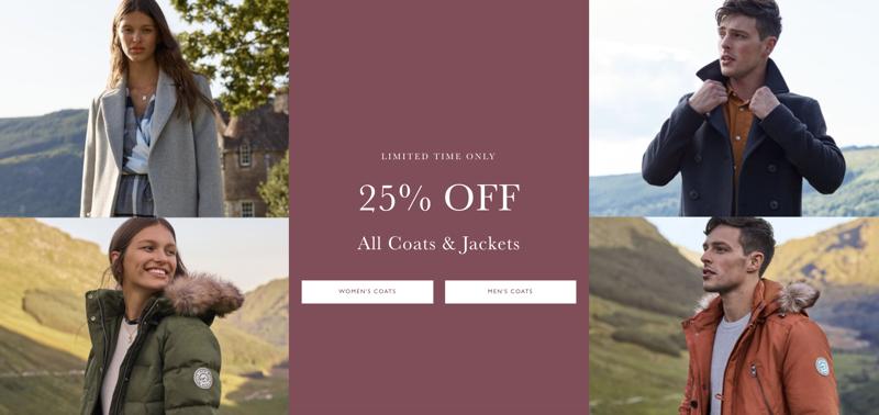 Jack Wills: 25% off all coats & jackets