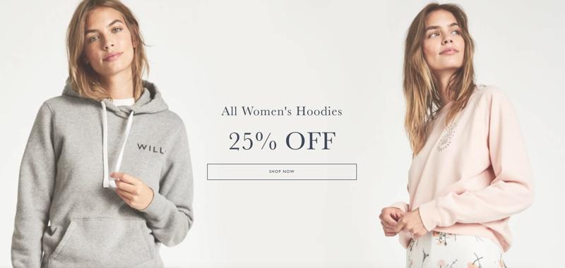 Jack Wills: 25% off all women's hoodies
