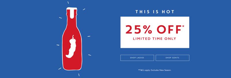 Jack Wills: 25% off ladies and gents clothing