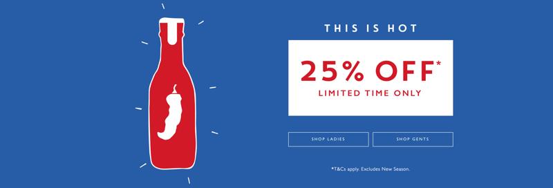 Jack Wills Jack Wills: 25% off ladies and gents clothing