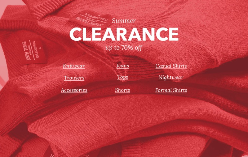 Joseph Turner: Summer Clearance up to 70% off men's clothing