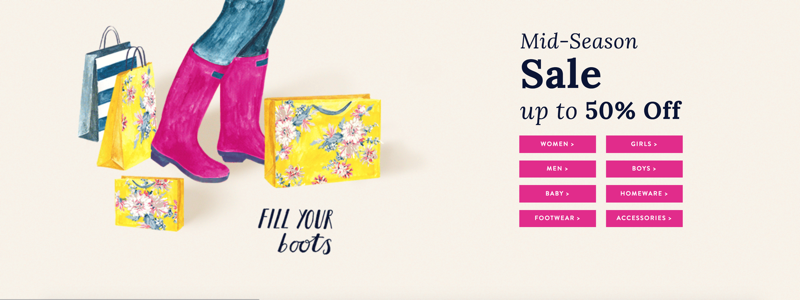 Joules Joules: Mid Season Sale up to 50% off women's, men's and children's clothing and footwear