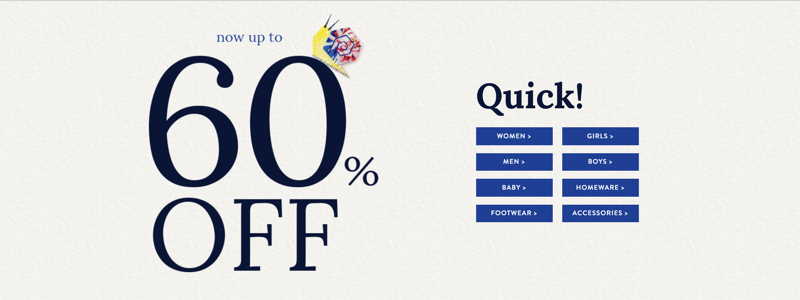 Joules: up to 60% off women's, men's, children's clothing and footwear