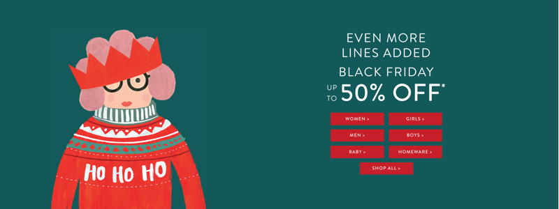 Joules Black Friday Joules: up to 50% off women's, men's and children's clothing and footwear