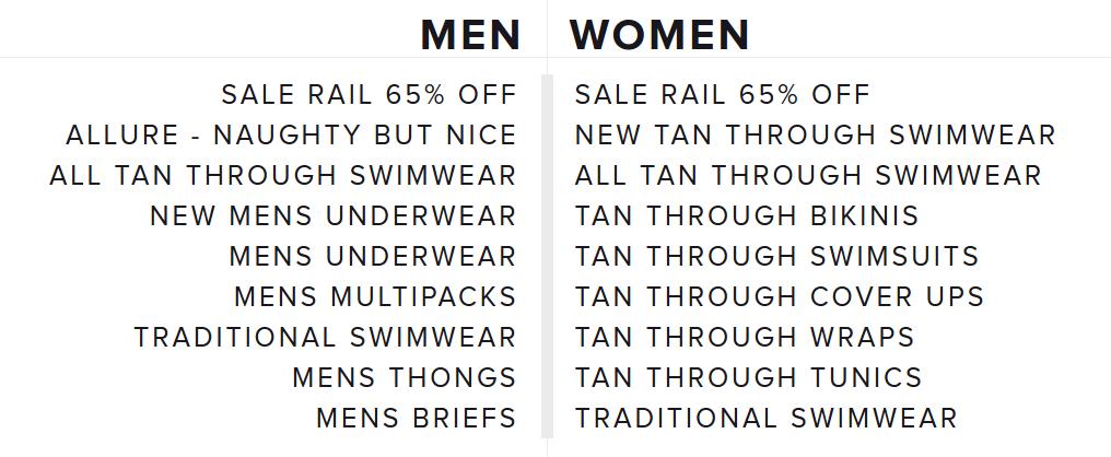 Kiniki: Rail Sale up to 65% off mens and womens swimwear, underwear, bikinis, swimsuits and more