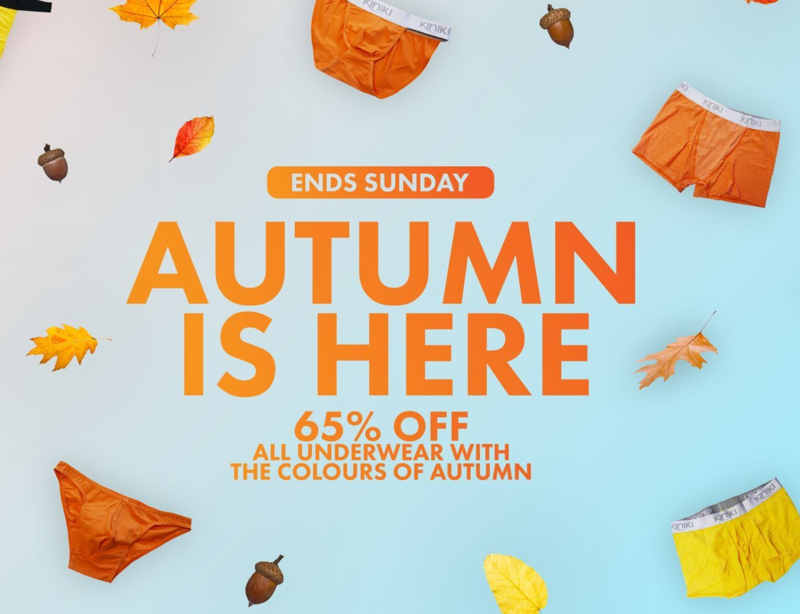 Kiniki: 65% off all underwear with the colours of autumn