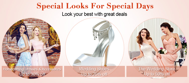 Light in the Box: up to 50% off homecoming dresses and accessories, wedding shoes and dresses and more
