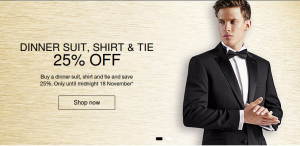 Marks & Spencer: 25% off dinner suit, shirt & tie