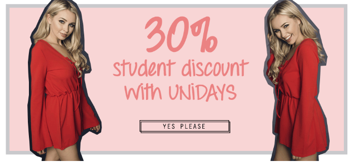 Miss Foxy: 30% off , student discount with UNIDAYS