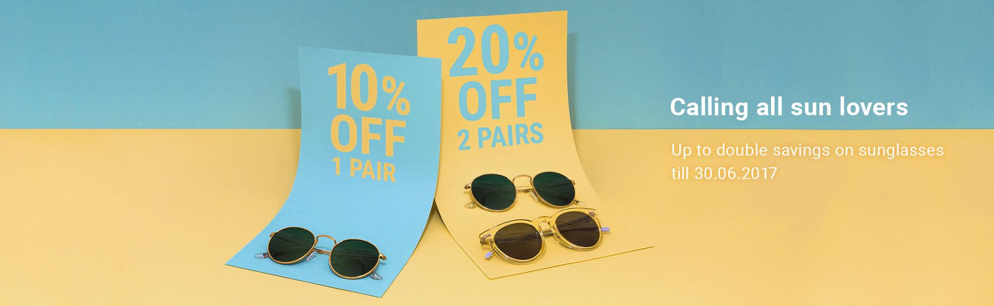 Misterspex:  10% off 1 pair, 20% off 2 pairs off sunglasses