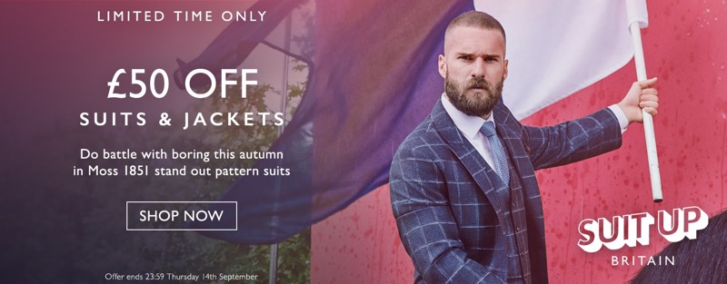 Moss Bros Moss Bros: £50 off suits & jackets