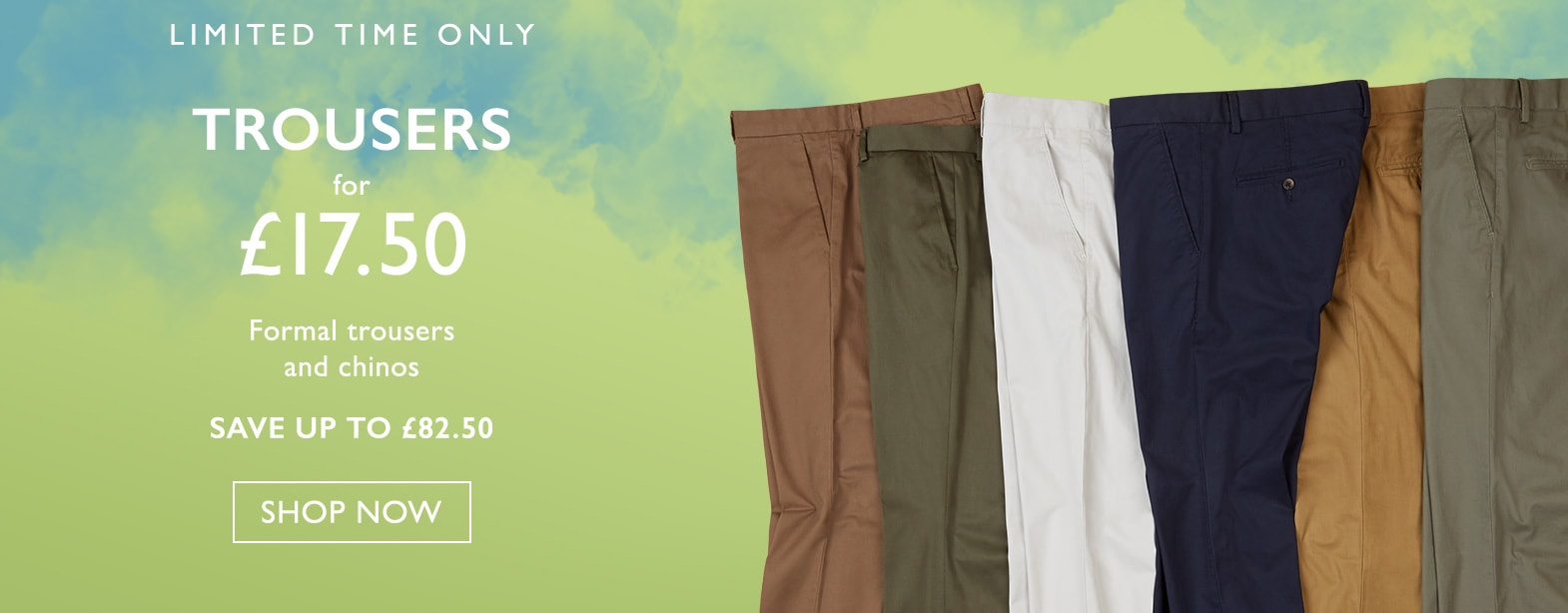 Moss Bros Moss Bros: formal trousers and chinos for £17,5