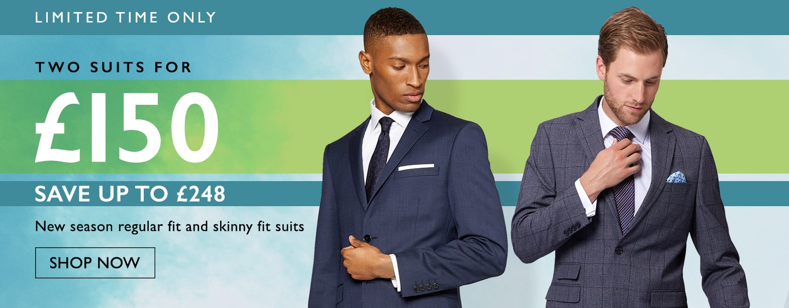 Moss Bros Moss Bros: two suits for £150
