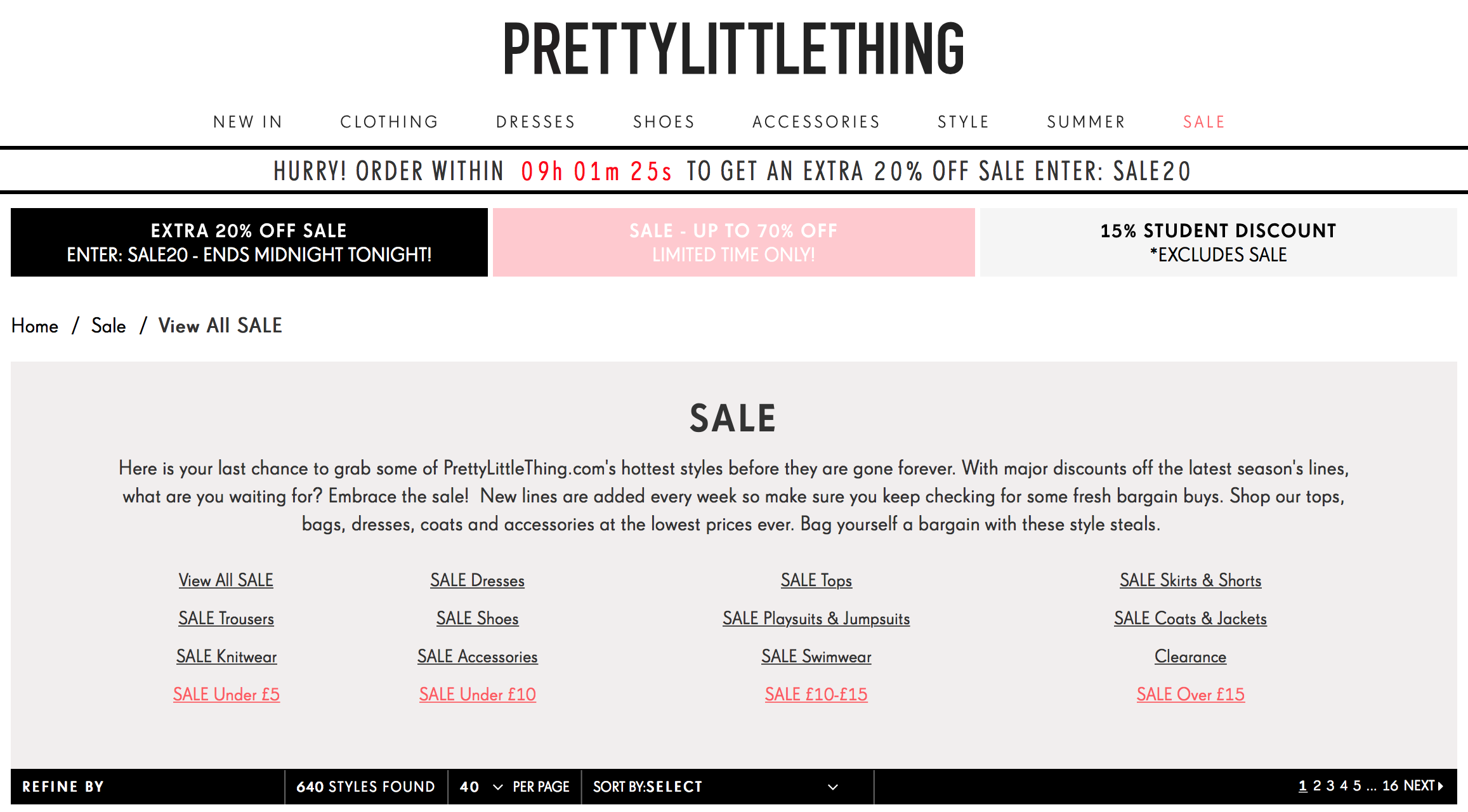 Pretty Little Thing: sale up to 70% off