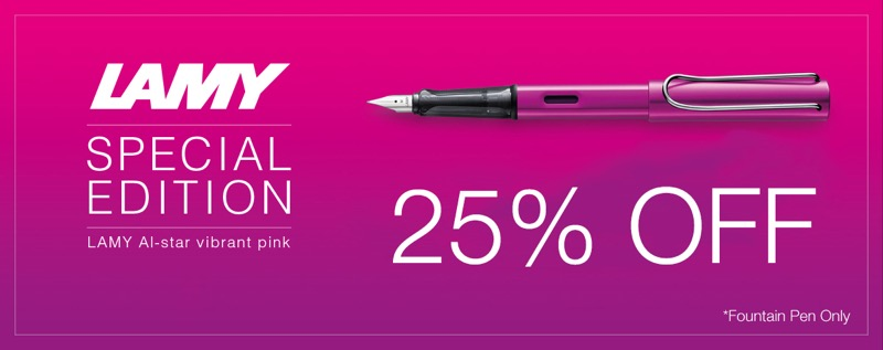 Pen Shop: 25% off Lamy Al Star Vibrant Pink Fountain Pen