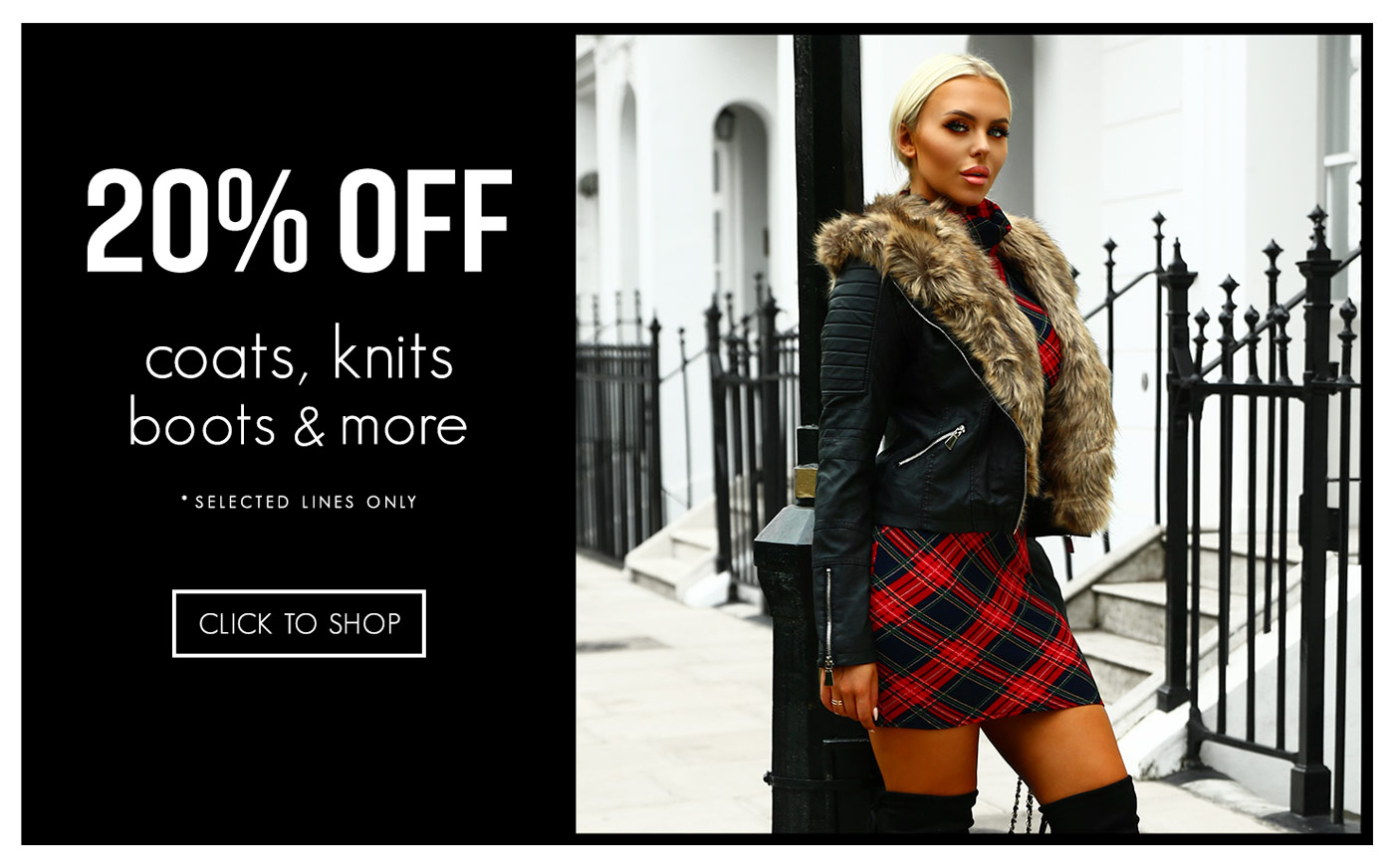 Pink Boutique: 20% off coats, knits, boots and more