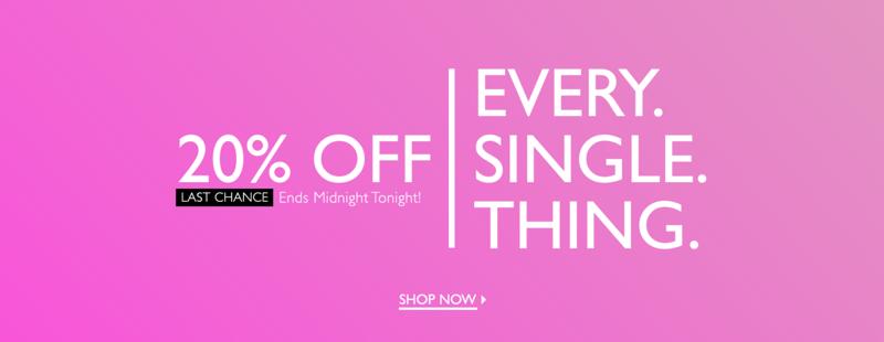 Precis: 20% off women's clothing