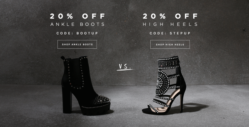 Public Desire Public Desire: 20% off ankle boots and high heels