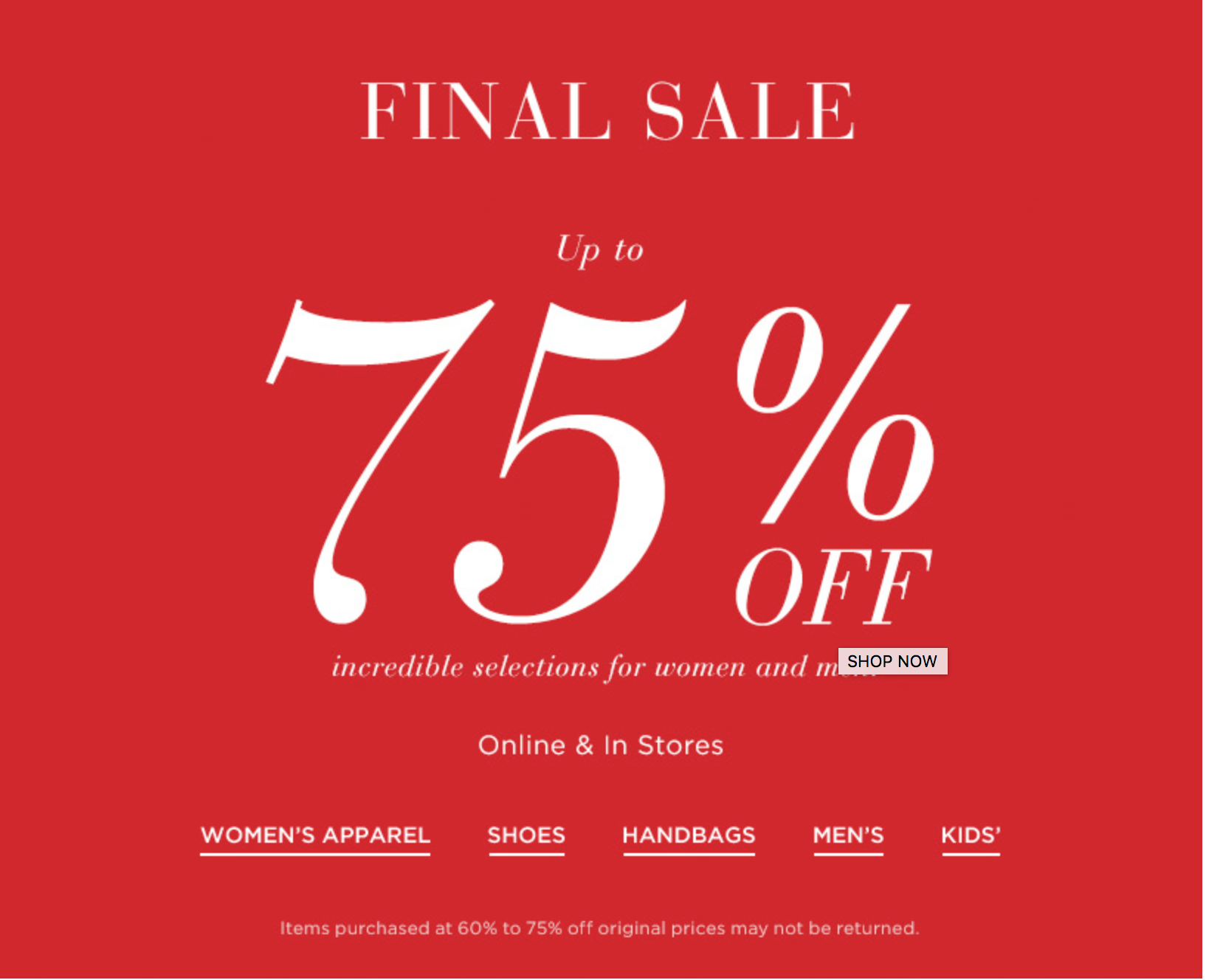 Saks Fifth Avenue: sale up to 75% off