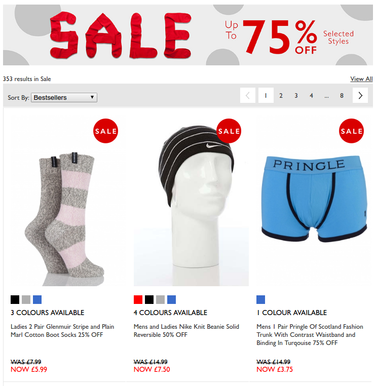 Sock Shop: Sale up to 75% off socks, underwear, accessories and more