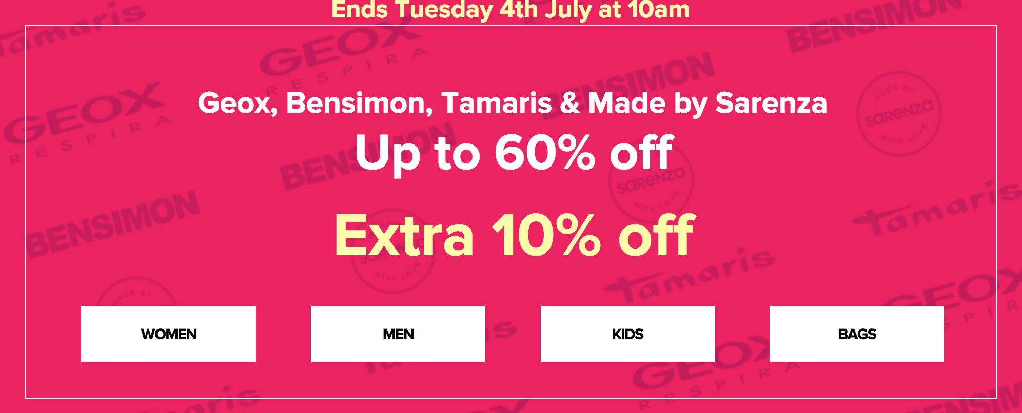 Sarenza: Sale up to 60% + extra 10% off Geox, Bensimon, Tamaris & Made by Sarenza