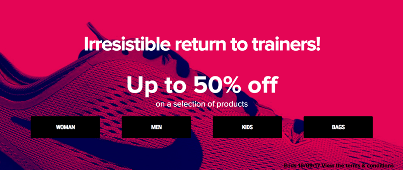 Sarenza: up to 50% off ladies, mens, kids trainers and bags