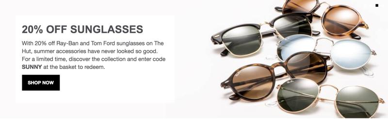 The Hut The Hut: 20% off designer sunglasses