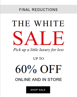 The White Company: The White Sale up to 60% off clothing, bedroom, home, gifts and more