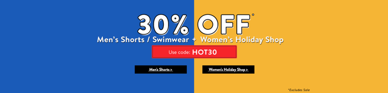 Tokyo Laundry: 30% off women's fashion, men's shorts and swimwear