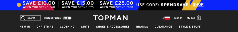 Topman: save up to £25 on mens fashion