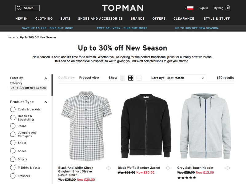 Top Man: up to 30% off new season off selected lines
