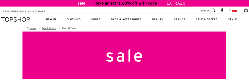 Topshop: extra 20% off women's clothing