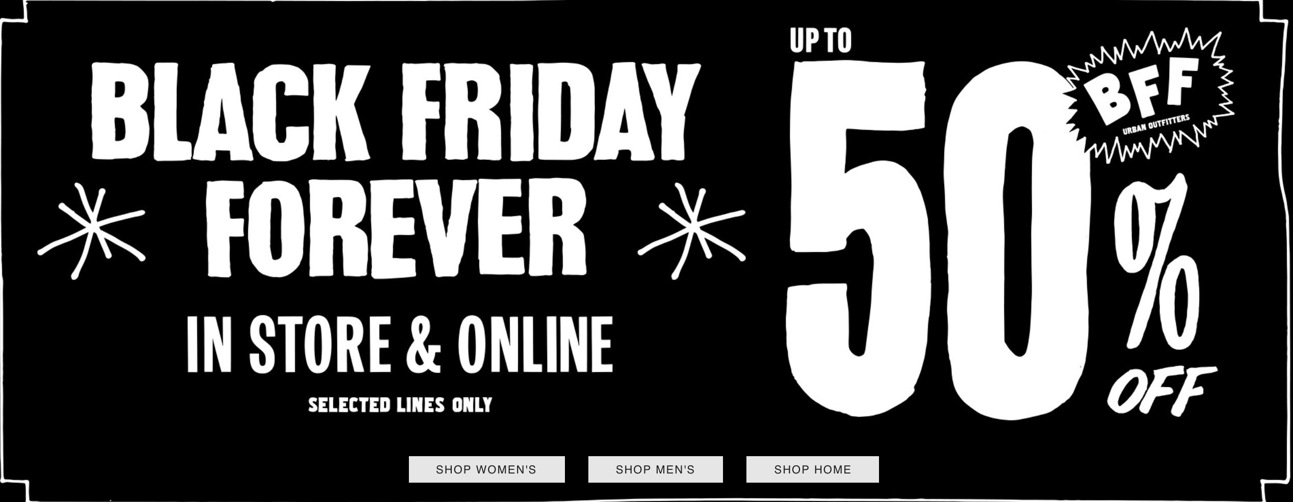 Black Friday Urban Outfitters: up to 50% off womens and mens brands