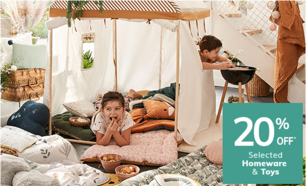 Vertbaudet: 20% off selected homeware & toys