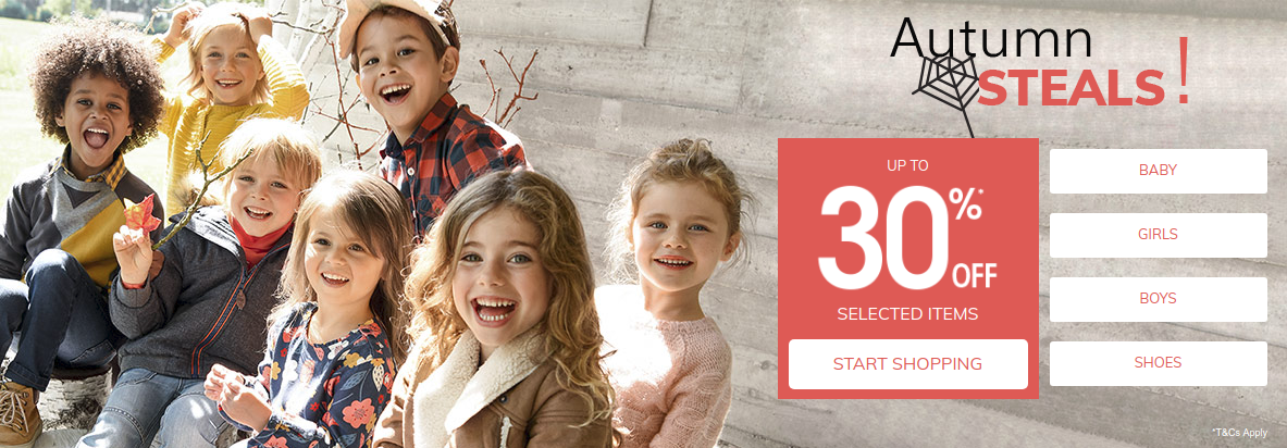 Vertbaudet: Autumn Sale up to 30% off baby, kids and children clothing