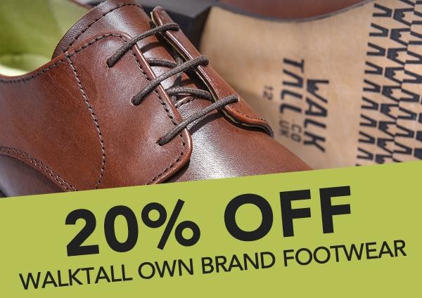 Walktall: 20% off walktall own brand footwear